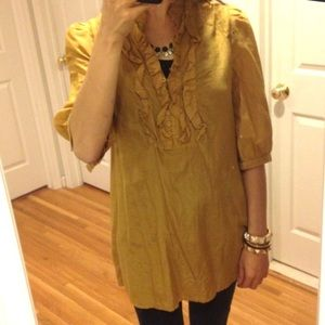 Forever 21 Silk/Cotton Blend Mustard Tunic Top M